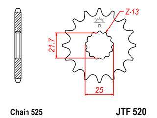 Pignon JT SPROCKETS 16 dents acier pas 525 type 520 - 46052016