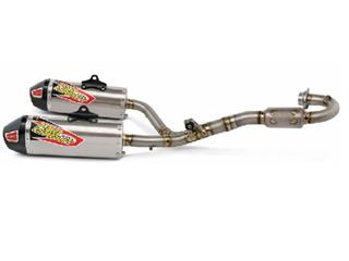 PRO CIRCUIT T-6 Dual Euro Full Exhaust System Stainless Steel/Titanium Muffler/Carbon End Cap Honda CRF450R/RX