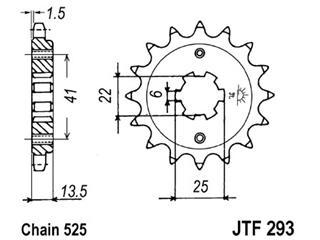 Pignon JT SPROCKETS 16 dents acier pas 525 type 293 - 46029316