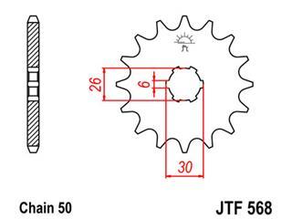 Pignon JT SPROCKETS 17 dents acier pas 530 type 568 - 46056817