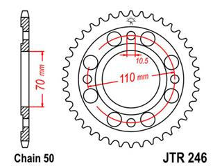 JT SPROCKETS Rear Sprocket 36 Teeth Steel Standard 530 Pitch Type 246