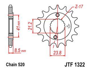 Pignon JT SPROCKETS 14 dents acier pas 520 type 1322 - 46132214