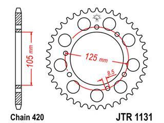 JT SPROCKETS Rear Sprocket 58 Teeth Steel Standard 420 Pitch Type 1131