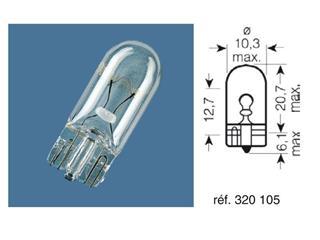 BOITE 10 AMPOULES 12V-5W / TEMOINS CULOT VERRE CULOT W2,1X9,5D - 320105