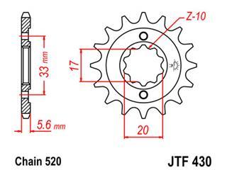 Pignon JT SPROCKETS 15 dents acier pas 520 type 430 - 46043015