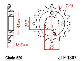 Pignon JT SPROCKETS 14 dents acier pas 520 type 1307 Honda XR650R - 46130714