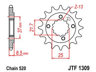 JT SPROCKETS Front Sprocket 13 Teeth Steel 520 Pitch Type 1309