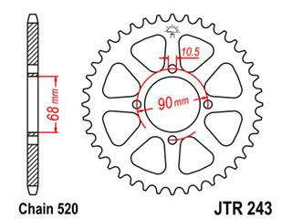 JT SPROCKETS Rear Sprocket 42 Teeth Steel Standard 520 Pitch Type 243