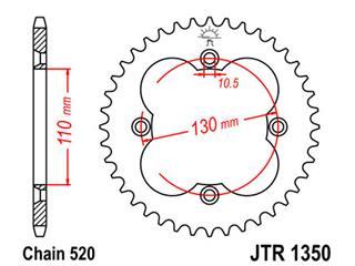 Couronne JT SPROCKETS 38 dents acier pas 520 type 1350 Honda - 47135038