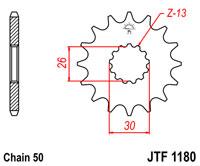 Pignon JT SPROCKETS 18 dents acier pas 530 type 1180 - 46118018