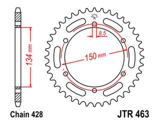 JT SPROCKETS Rear Sprocket 48 Teeth Steel Standard 428 Pitch Type 463