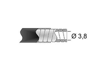 TRANSFIL 38/10 brake sheath, flat black wire, 15m reel