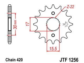 Pignon JT SPROCKETS 14 dents acier pas 420 type 1256 Honda CR50F - 46125614