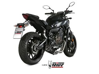 MIVV Delta Race Stainless Steel Full Exhaust System Black Stainless Steel/Carbon End Cap Yamaha MT-07