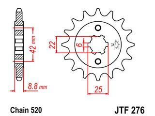 Pignon JT SPROCKETS 15 dents acier pas 520 type 276 Honda CB250S - 46027615