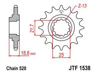 Pignon JT SPROCKETS 15 dents acier pas 520 type 1538 - 46153815