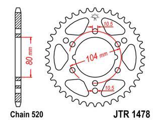 Couronne JT SPROCKETS 43 dents acier pas 520 type 1478 - 47147843