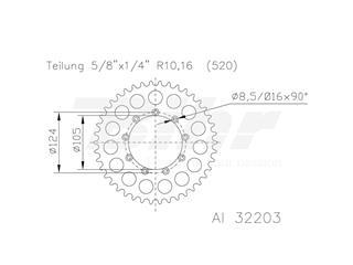 Corona ESJOT Aluminio 51-32203 52 dientes - 41902