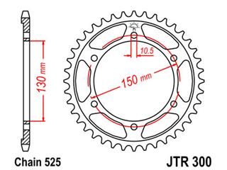 JT SPROCKETS Rear Sprocket 47 Teeth Steel Standard 525 Pitch Type 300
