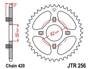JT SPROCKETS Rear Sprocket 43 Teeth Steel Standard 420 Pitch Type 256