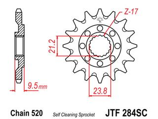 JT SPROCKETS Front Sprocket 13 Teeth Steel Self-Cleaning 520 Pitch Type 284SC