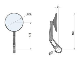 Clubman mirror black handlebar end fitting LSL - 2e4ee5dc-574e-406a-a996-0725fc80edfe