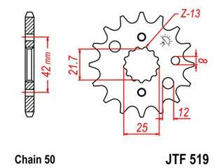 Pignon JT SPROCKETS 16 dents acier pas 530 type 519 - 46051916