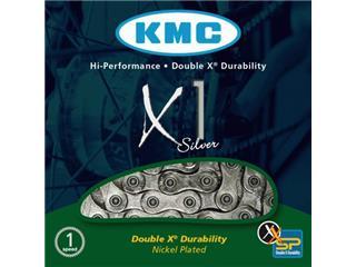 CHAIN KMC X1 NICKEL 6.7MM/EPT1/2 X 3/32 X 110 SILVER