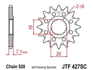 JT SPROCKETS Front Sprocket 13 Teeth Steel Self-Cleaning 520 Pitch Type 427SC Suzuki
