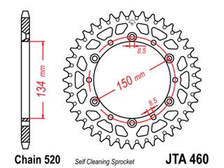 JT SPROCKETS Rear Sprocket 49 Teeth Aluminum Ultra-Light Self-Cleaning 520 Pitch Type 460