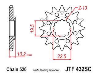 Pignon JT SPROCKETS 13 dents acier anti-boue pas 520 type 432 Suzuki RM250 - 460002
