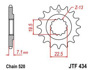 Pignon JT SPROCKETS 16 dents acier pas 520 type 434 - 46043416