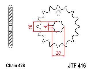 Pignon JT SPROCKETS 13 dents acier pas 428 type 416 - 46041613