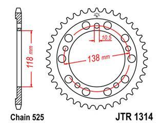 Couronne JT SPROCKETS 39 dents acier pas 525 type 1314 - 47131439