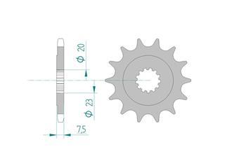 Pignon AFAM 15 dents acier standard pas 520 type 22401 Suzuki DR 250 S