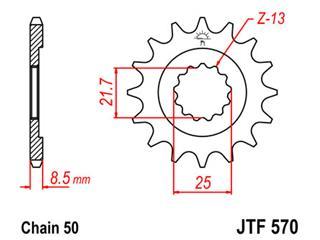 Pignon JT SPROCKETS 16 dents acier pas 530 type 570 - 46057016