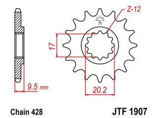 JT SPROCKETS Front Sprocket 13 Teeth Steel Standard 428 Pitch Type 1907