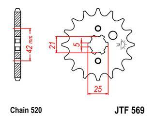 JT SPROCKETS Front Sprocket 15 Teeth Steel Standard 520 Pitch Type 569