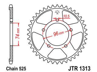 Couronne JT SPROCKETS 40 dents acier pas 525 type 1313 - 47131340