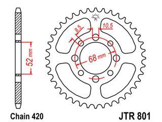 JT SPROCKETS Rear Sprocket 38 Teeth Steel Standard 420 Pitch Type 801