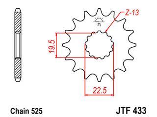 JT SPROCKETS Front Sprocket 14 Teeth Steel Standard 525 Pitch Type 433