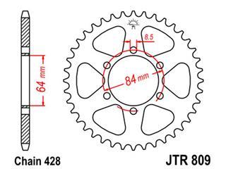 Couronne JT SPROCKETS 47 dents acier pas 428 type 809 - 47080947