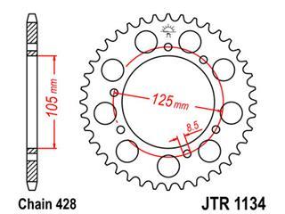 JT SPROCKETS Rear Sprocket 52 Teeth Steel Standard 428 Pitch Type 1134