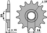 Pignon PBR 13 dents acier standard pas 520 type 432 Suzuki RM125