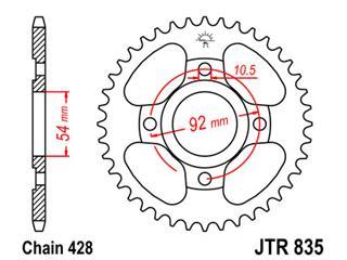 JT SPROCKETS Rear Sprocket 45 Teeth Steel 428 Pitch Type 895