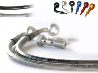 "Durites de frein avant SPEEDBRAKES carbone/raccord noir Suzuki VS1400G Intruder ""guidon haut"" - 353200321"