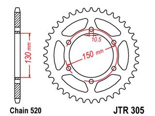 JT  Rear Sprocket 46-Kuggar Stål Ultra-light Hard Anodized typ 305 520 Pitch JTR305.46