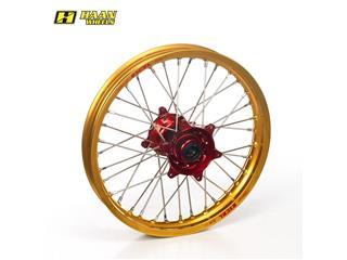 HAAN WHEELS Komplett Hinterrad 19x2,15x36T Gold Felge/Rot Nabe/Silber Speichen/Silber Speichennippel