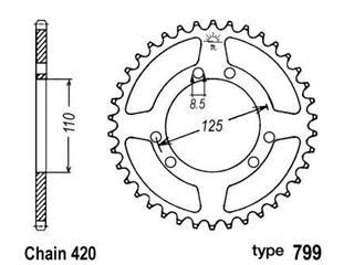 B1 Rear Sprocket 50 Teeth Steel Standard 420 Pitch Type 799