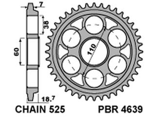 Couronne PBR 45 dents acier standard pas 525 type 4639